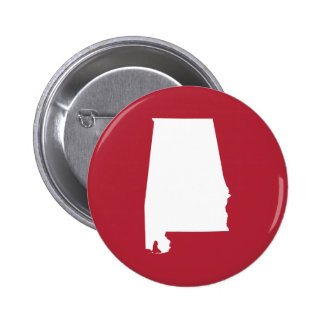 Red and White Alabama 2 Inch Round Button