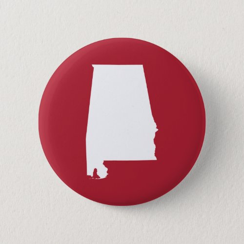 Red and White Alabama Map Shape Button