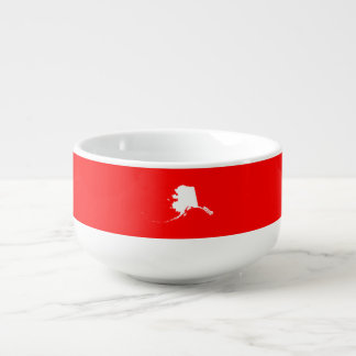 Red and White Alaska Soup Bowl With Handle