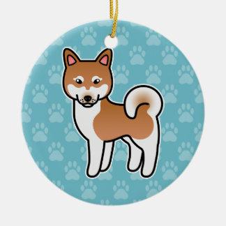 Red And White Alaskan Klee Kai Dog Illustration Ceramic Ornament