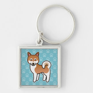 Red And White Alaskan Klee Kai Dog Illustration Keychain