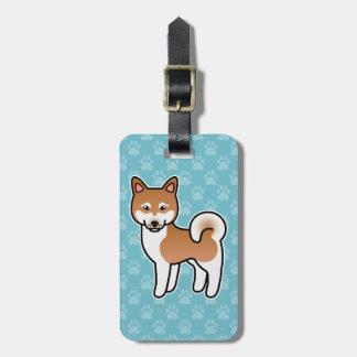 Red And White Alaskan Klee Kai Dog Illustration Luggage Tag