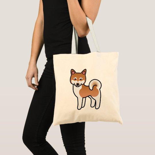 Red And White Alaskan Klee Kai Dog Illustration Tote Bag