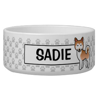 Red And White Alaskan Malamute Cartoon Dog Bowl