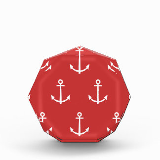 Red and White Anchors Pattern 1 Acrylic Award