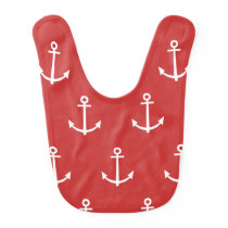 Red and White Anchors Pattern 1 Bib