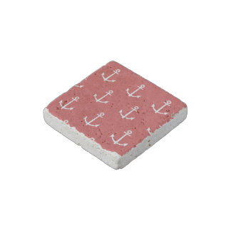 Red and White Anchors Pattern 1 Stone Magnet