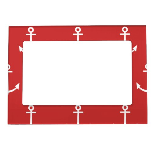 Red and White Anchors Pattern 1 Magnetic Photo Frames