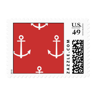 Red and White Anchors Pattern 1 Postage
