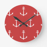 Red and White Anchors Pattern 1 Round Wallclocks
