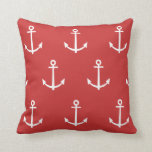 Red and White Anchors Pattern 1 Throw Pillow