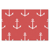 Red and White Anchors Pattern 1 Tissue Paper