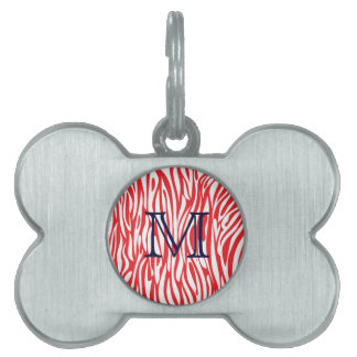 Red and White Animal Print Pet Tag