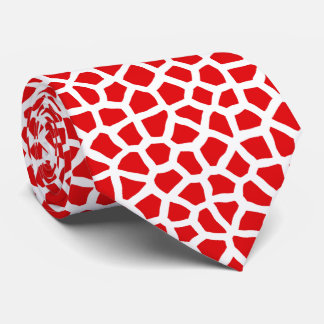 Red and White Animal Skin Pattern Tie