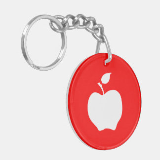 Red and White Apple Double-Sided Round Acrylic Keychain