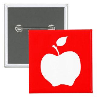 Red and White Apple Pinback Button