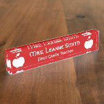 Red and White Apple Teacher Desk Name Plate