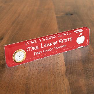 Red and White Apple Teacher Desk Nameplates
