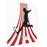Red and White arcs Soccer player design Gallery Wrap Canvas