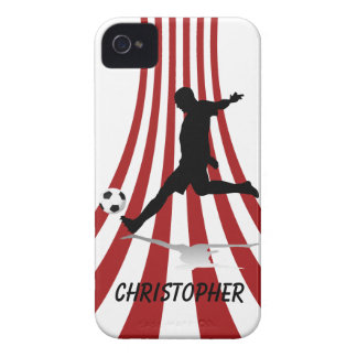 Red and White arcs Soccer player design iPhone 4 Case-Mate Case