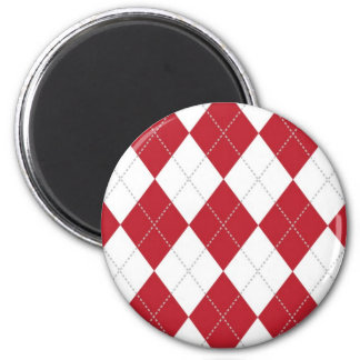 Red and White Argyle Pattern 2 Inch Round Magnet