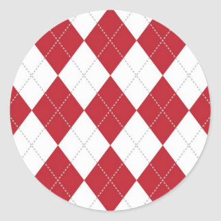 Red and White Argyle Pattern Classic Round Sticker