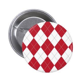 Red and White Argyle Pattern Pinback Button