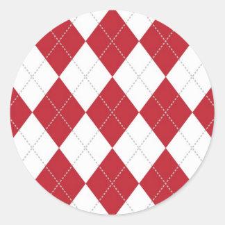 Red and White Argyle Pattern Round Sticker