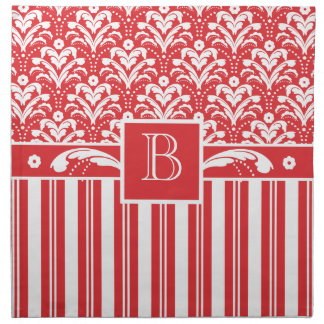 Red and White Art Deco Damask with Your Monogram Napkin