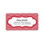 Red and White Asian Pattern Personalized Address Label
