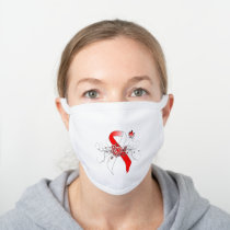 Red and White Awareness Ribbon with Butterfly White Cotton Face Mask