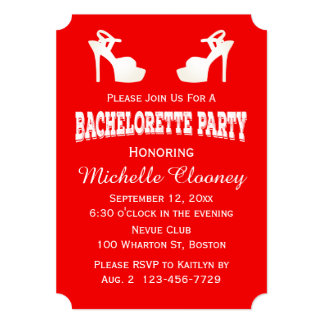 Red And White Bachelorette Party High Heels Card