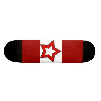 Red and white barbwire star skateboard