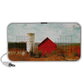 Red and White Barns in Fall Notebook Speaker