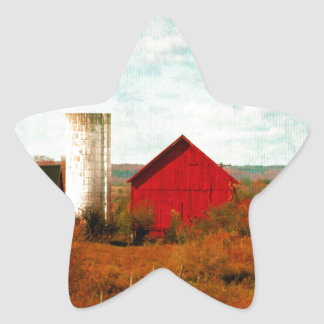 Red and White Barns in Fall Star Sticker