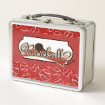 """Red and White Baseball Classic Metal Lunchbox<br><div class=""""desc"""">This snazzy red,  white and black baseball patterned metal lunchbox is ready to personalize with your child&#39;s name,  initials or other text,  Your choice of several other metal colors. See this also  in the plastic yubo kit version and other coordinating items in KidsUnique on Zazzle.</div>"""