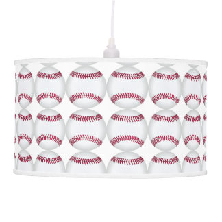 Red and White Baseball Decor Man Cave Modern Ceiling Lamp