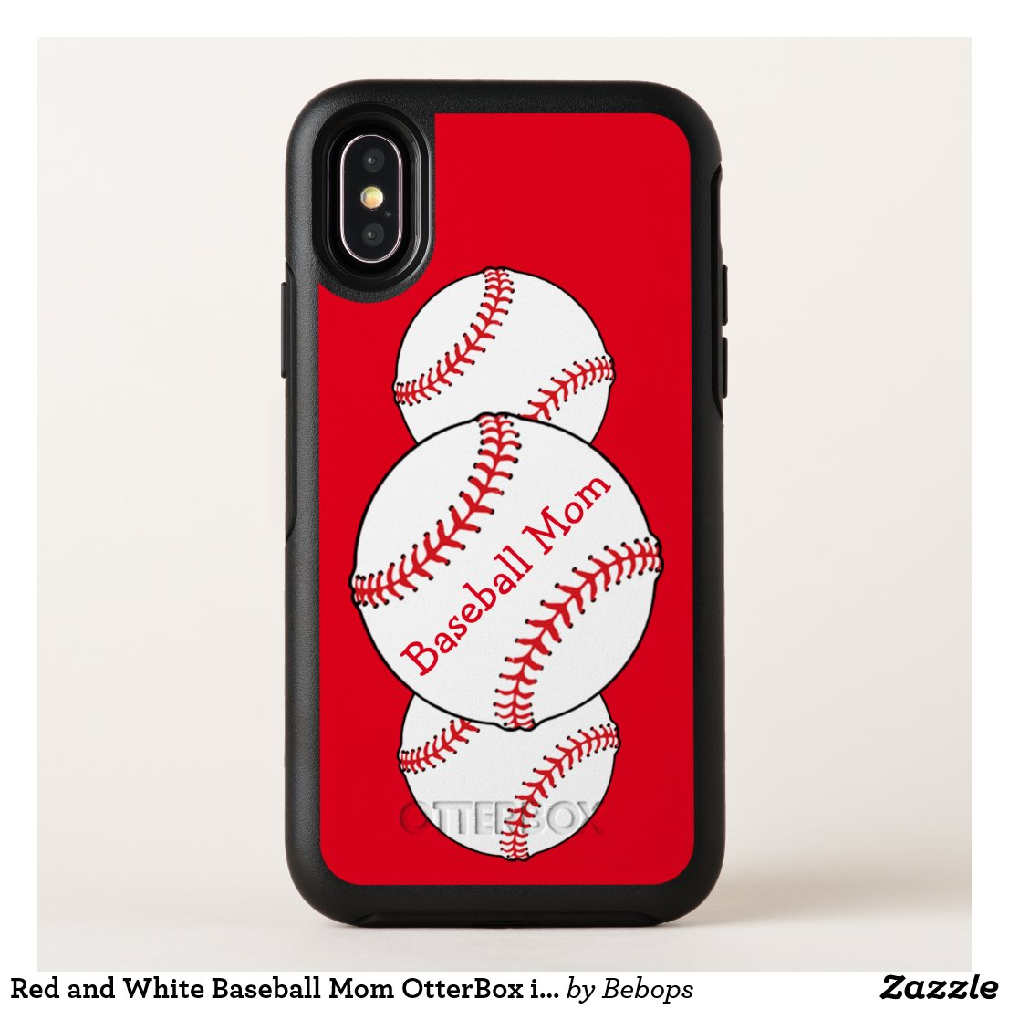 Red and White Baseball Mom OtterBox iPhone X Case