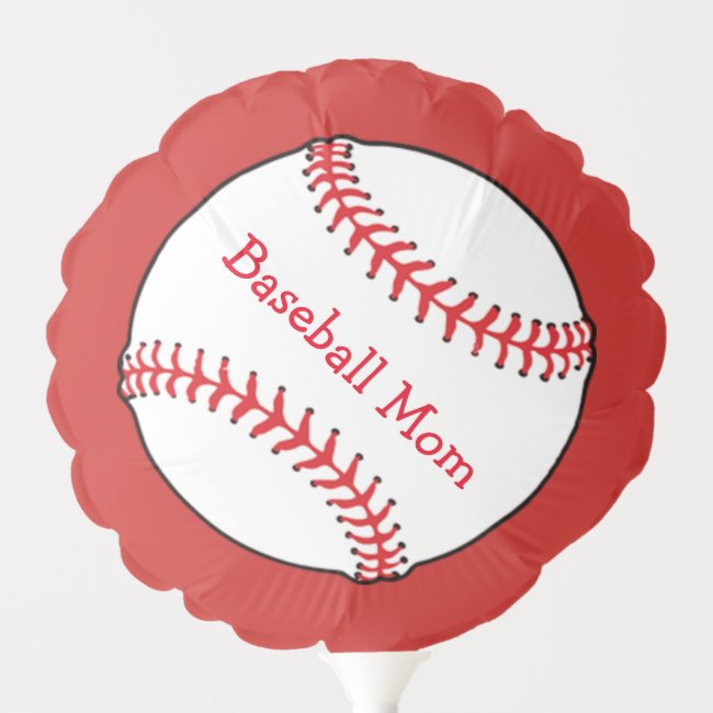 Red and White Baseball Mom Sports Balloon