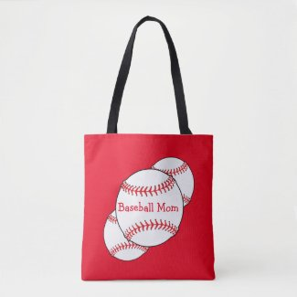 Red and White Baseball Mom Sports Tote Bag