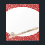 "Red and White Baseball Print Notepad<br><div class=""desc"">Personalize the name on the baseball bat printed on this unique red and white sports themed notepad. Great stocking stuffer or back to school gift.</div>"