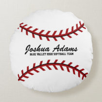 Red and White Baseball Sport Team Round Pillow