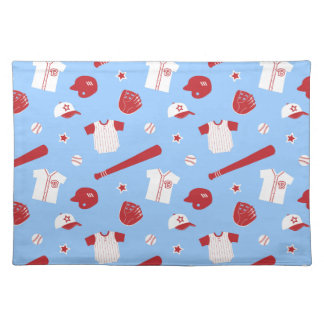 Red and White Baseball Theme Pattern Cloth Placemat
