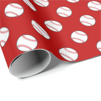 Red and White Baseballs | Any Background Color Wrapping Paper
