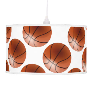 Red and White Basketball Decor Man Cave Modern Hanging Pendant Lamps