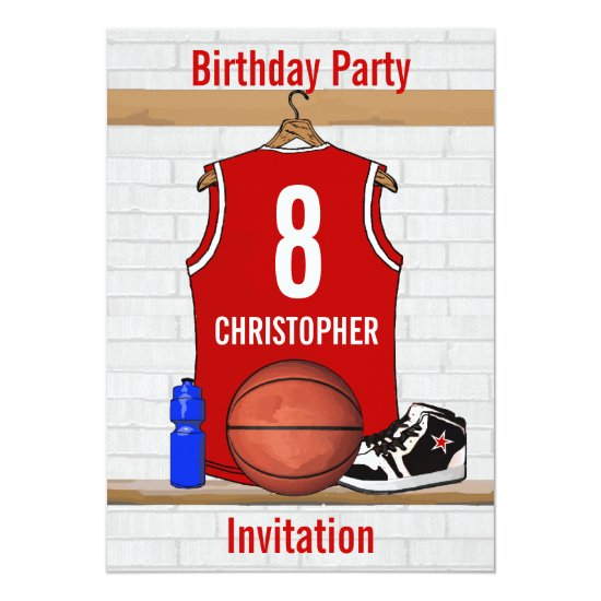 Red and White Basketball Jersey Birthday Party Invitation