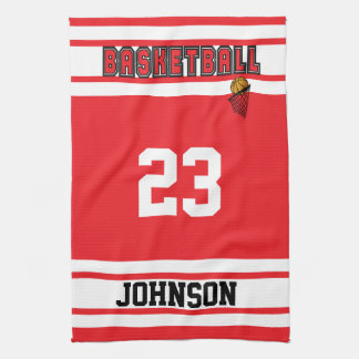 Red and White Basketball Hand Towels