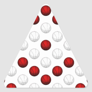 Red and White Basketball Pattern Triangle Stickers