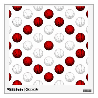 Red and White Basketball Pattern Wall Sticker