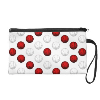 Red and White Basketball Pattern Wristlet